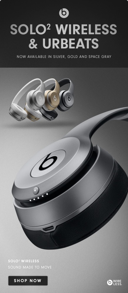Beats wireless in gold, silver, space grey